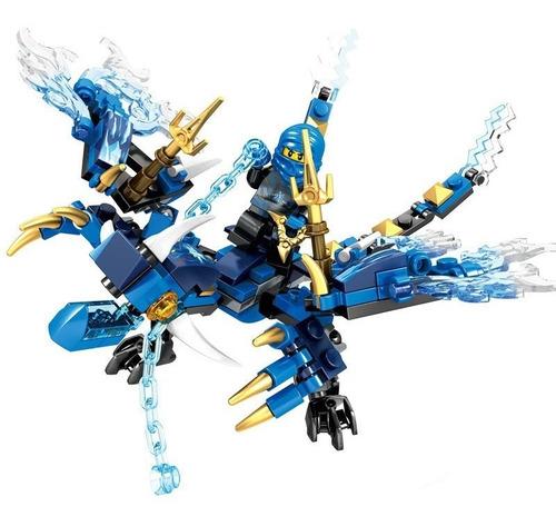 Imagen 1 de 6 de Figura Ninjago Dragón Azul Rojo Verde Blanco Armable