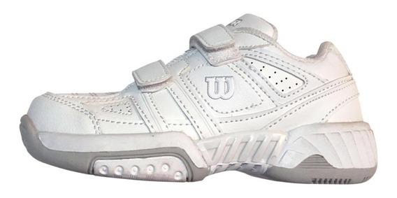 Zapatillas Wilson Tenis Junior Blancas Niños Colegio Escuela