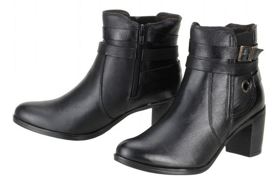 Bota Cano Curto Feminina Couro Legítimo Ankle Boot 252 Preta