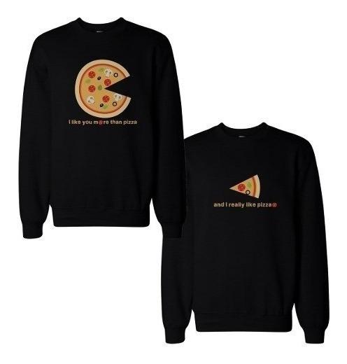 Dúo Sudaderas Sin Gorro P/pareja Pizza