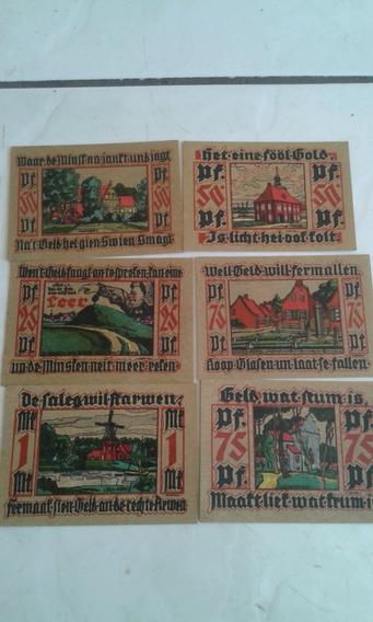 6 Cédulas Alemanha Notgeld 25, 50, 75, 1 Pfennig Leer