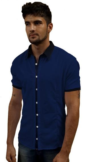 Camisa Social Masculina Slim Fit Manga Curta