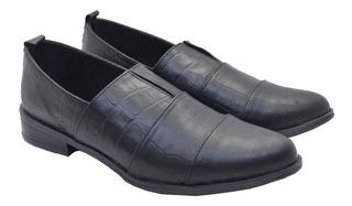 Zapato Cuero Crocco Chata Suela De Goma Otoño Invierno 2020