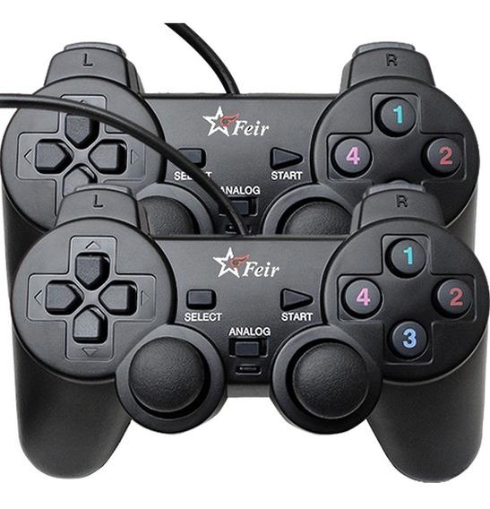 2 Controles Pc Usb Analógicos C/ Vibração Win Xp 7 8 10 Nfe