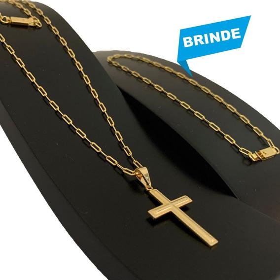 Cordão Corrente Masculi Banhada Ouro 18k 60cm Ping Cruz 2mm