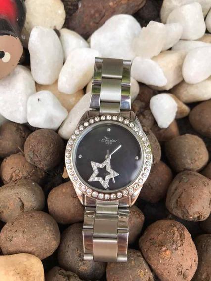Relógio Prata Com Strass - Condor