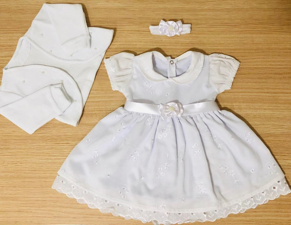 Vestido Com Bolero E Tiara Batizado Infantil Bebê Menina