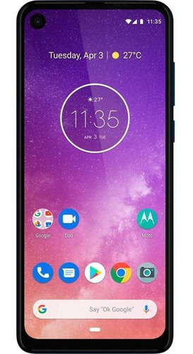 Imagem 1 de 4 de Motorola Moto One Vision 128gb Azul Safira Muito Bom Usado