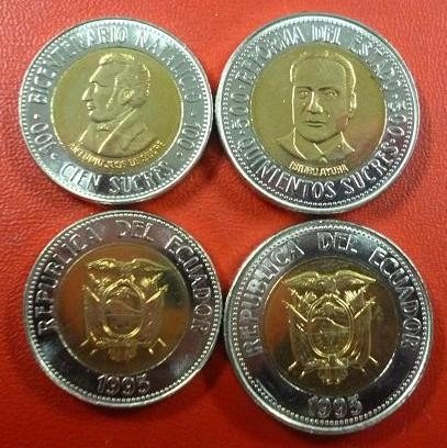 Ecuador Set 2 Monedas 1995 Bicentenario Natalicio Y Reforma