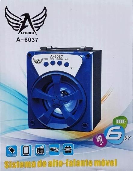 Caixa De Som Bluetooth Portátil Rádio Fm Usb Micro Sd A-6037
