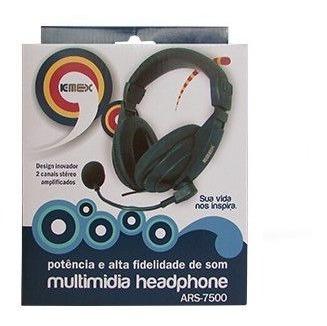 Headset K-mex Ars-7500 C/ Microfone Preto