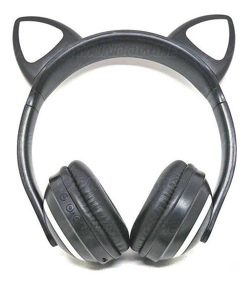 Headphone Bluetooth Orelhas Gato Iluminação Led Preto