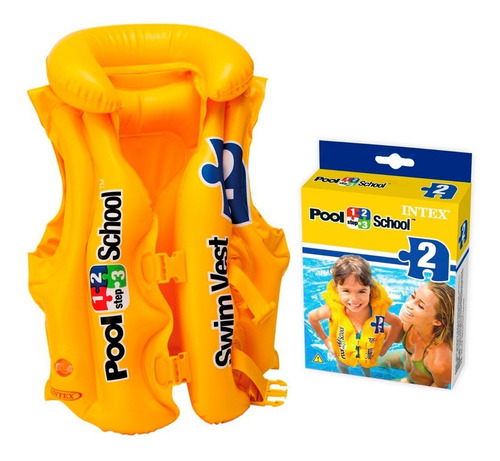 Imagem 1 de 4 de Colete Inflável Infantil Pool School Step 2 Intex Resistente