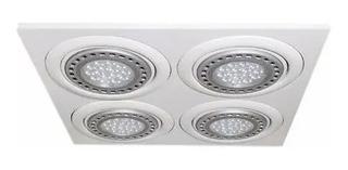 Spot Embutir Ar111 Cuadrado Cardanico Blanco 4 Luces Led