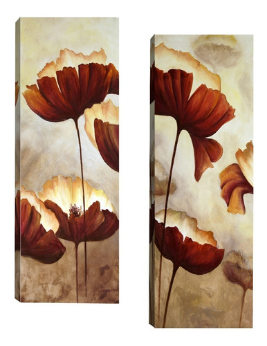 Par De Quadros Para Sala Quarto Corredor 20x60 Floral Marrom