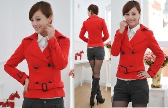 Abrigo Rojo Corto Formal Moda Asiática