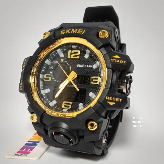 Relógio Digital Masculino Ponteiro Skmei 1155 Dourado