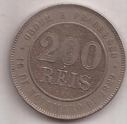Brasil Antigua Moneda De 200 Reis Año 1895 Escasa !!!