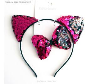 Tiara Gato Gatinha+laço Dupla Face Pink- Carnaval