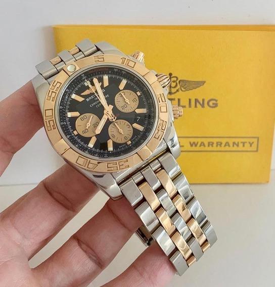 Breitling Chronomat B01 Ouro Rosé E Aço 44mm Impecável