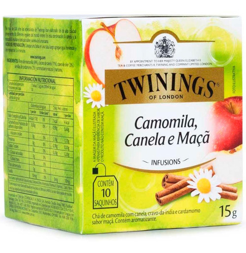 Imagen 1 de 7 de Te Twinings Manzanilla Canela Y Manzana - Caja X10 Sobres