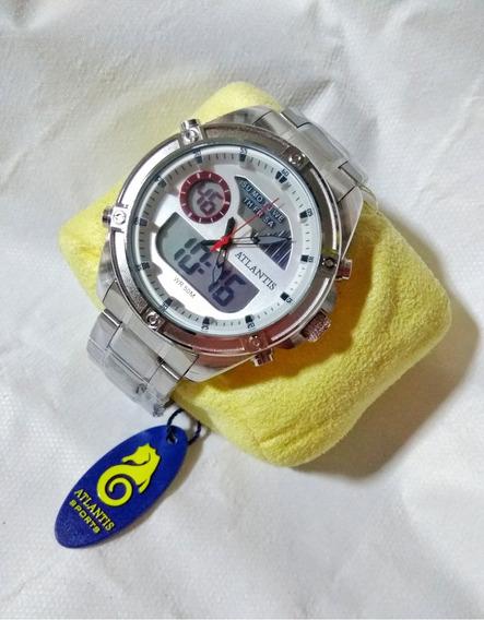 Relógio Masculino Prata Atlantis G3446 Original