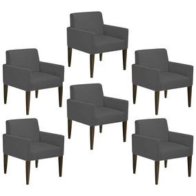 Kit 06 Poltrona Cadeira Dani Recepção Suede Grafite