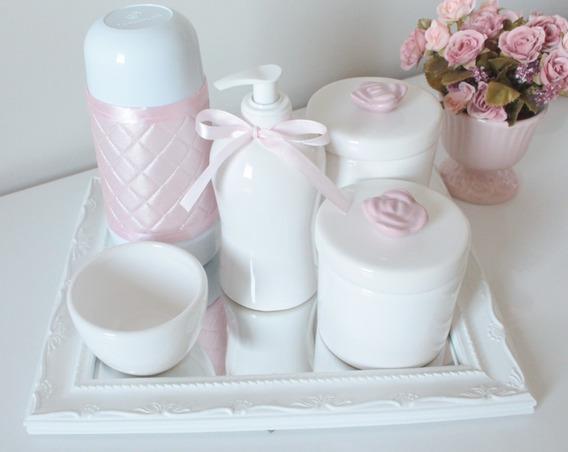 Kit Higiene Bebe Branco E Rosa Bandeja Resina C/ Garrafa Termica