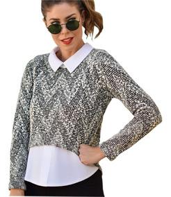 Blusa Roupa Feminina Camisa Embutida Social Moda Evangélica