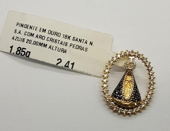 Pingente Em Ouro 18k S.n.a Aro Com Cristais Azuis 1,85g