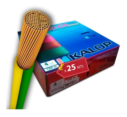 Imagen 1 de 10 de Cable Unipolar 4 Mm Kalop Categoría 5  Iran Extra Flexible