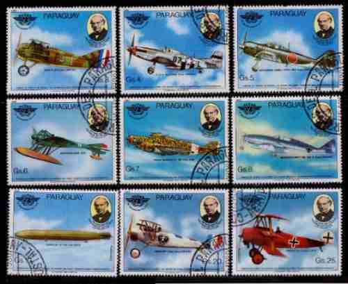 Paraguay 1980 Aviones Serie Completa 9 Valores Con Aereos