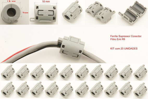 Kit 20 Ferrite Supressor Conector Filtro Emi Rfi 7 Mm