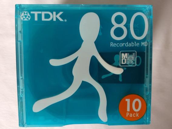 Pack Com 10 Mini Disc Tdk Md-um80x10n Novos E Lacrados Japan