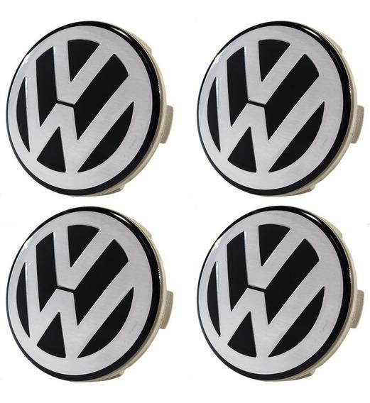 Jogo Calota Meio Roda Scorro Logo Volkswagen Jetta Tsi 55mm