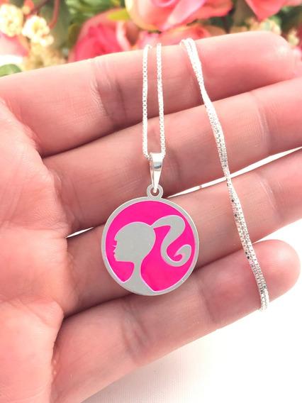 Promoção Colar Prata Maciça 925 C/ Pingente Barbie Rosa