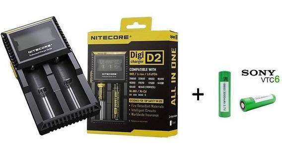 Carregador Digital Niticore D2 + 2 Baterias Sony Vtc6 Origin