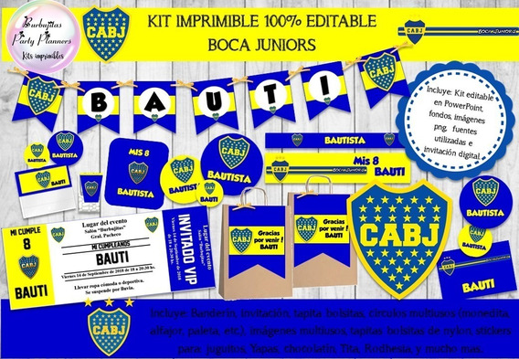 Kit Imprimible Candy Bar Boca Juniors 100% Editable