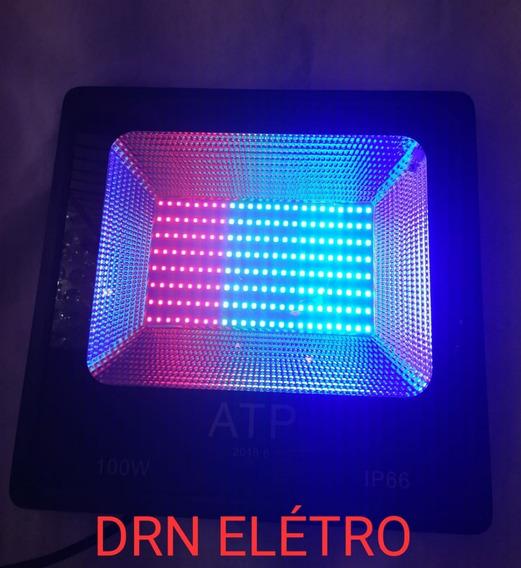 Holofote Refletor Led Smd 100w Rgb Bivolt Prova Dágua 4 Unit