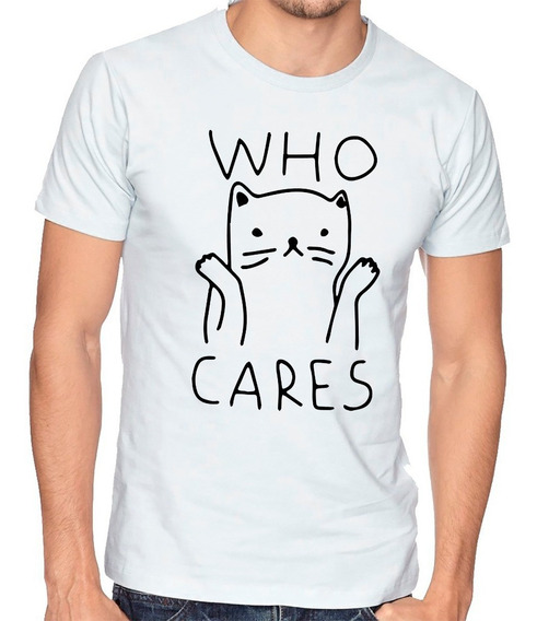 Playera Gato Who Cares Momo Meme Camiseta Hombre Niño #703