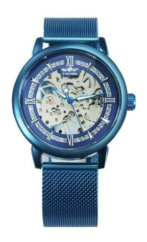Relógio Mecanico Azul Pulso Manual Masculino Winner Luxuoso