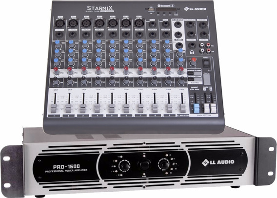 Kit Mesa Som 10 Canais Ll Xms1002d + Potencia Pro 1600 400w