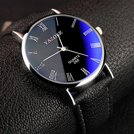 Relógio Yazole Luxo Social Pulseira Couro Preto