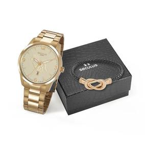 Kit Relógio Seculus Dourado E Pulseira Frete Grátis