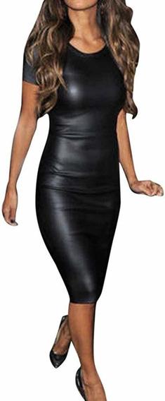 Vestido Engomado Negro Manga Corta Importado