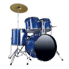 Bateria Acústica Estudante Schieffer Azul - Completa