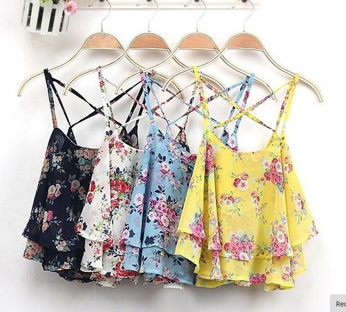 Blusa Gasa Floral Talla M Nueva Importada En Stock Colores