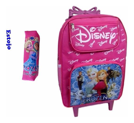 Mochila Escolar Infantil Frozen Tam G + Estojo (rosa)
