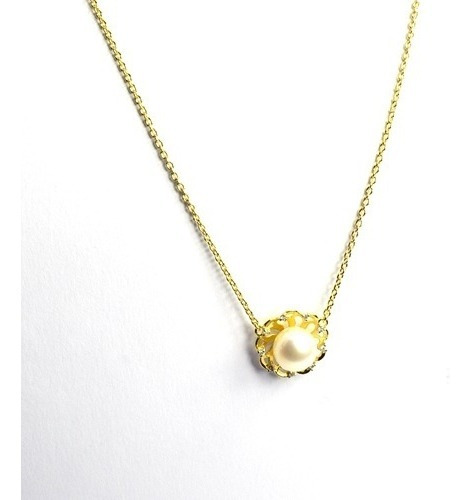 Gargantilha Ouro 18k Perola 7,5 Mm E 9 Diamantes