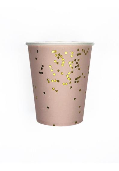Vasos Polipapel Confetti Aqua, Blanco Y Rosa Con Dorado X10u